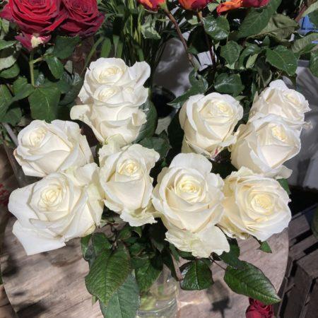 votre artisan fleuriste vous propose le bouquet : Bouquet de Roses blanches à l'unité