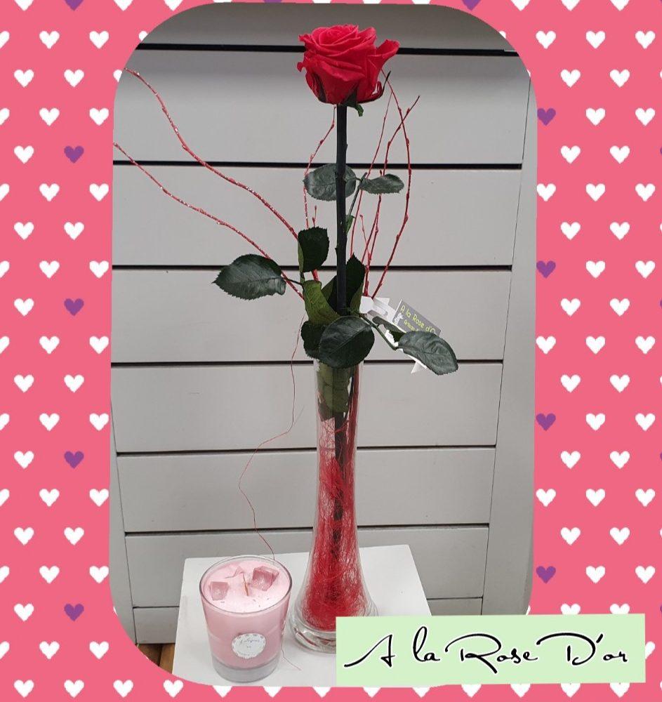 Rose éternelle vase et bougie