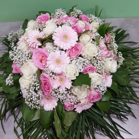 votre artisan fleuriste vous propose le bouquet : Coussin Rond Deuil