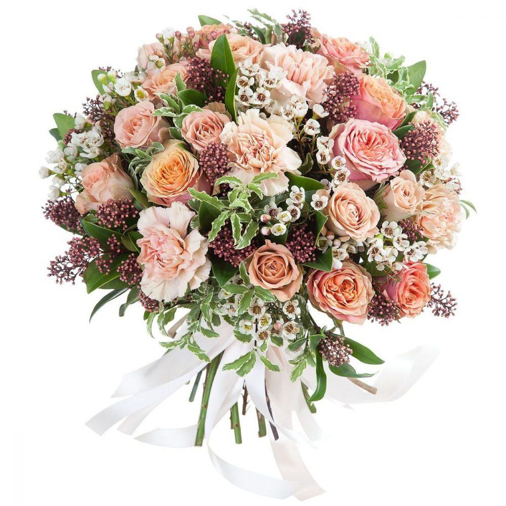 Bouquet Créateur - Beige, Rose poudré, corail, rose saumoné & blanc écru