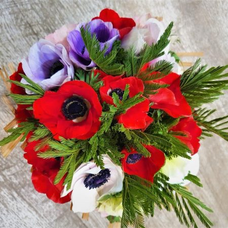 votre artisan fleuriste vous propose le bouquet : Les Anémones du Printemps