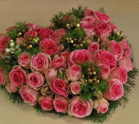 votre artisan fleuriste vous propose le bouquet : Coeur Deuil