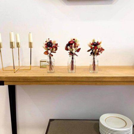 votre artisan fleuriste vous propose le bouquet : Trio de Bouquets de Fleurs Séchées avec Soliflore