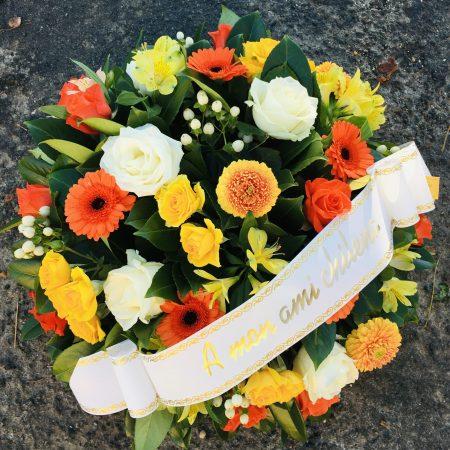 votre artisan fleuriste vous propose le bouquet : Coussin Rond