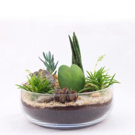 votre artisan fleuriste vous propose le bouquet : Terrarium Aride Taille M