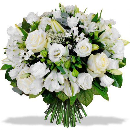 votre artisan fleuriste vous propose le bouquet : Bouquet Rond Inspiration Blanc