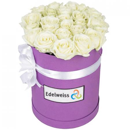 votre artisan fleuriste vous propose le bouquet : Boîte à Chapeau Roses Blanches