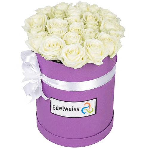 Boîte à Chapeau Roses Blanches