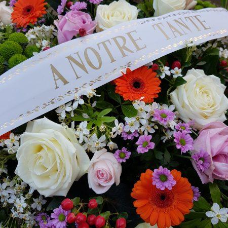 votre artisan fleuriste vous propose le bouquet : RUBAN DE DEUIL