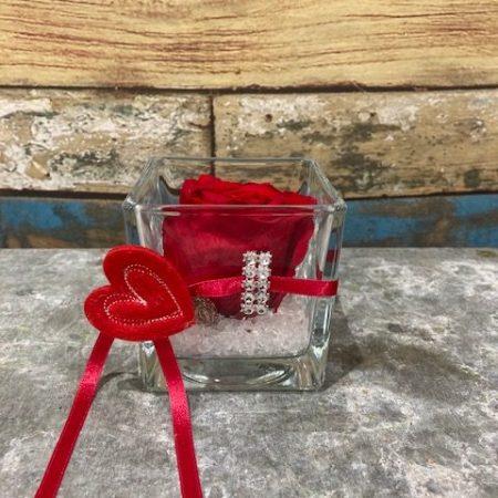 votre artisan fleuriste vous propose le bouquet : rose stabilisée de couleur rouge en verrerie carrée