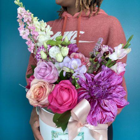 votre artisan fleuriste vous propose le bouquet : Rainbow purple